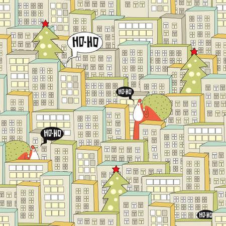 Christmas city seamless pattern. Vector illustration with Santa.