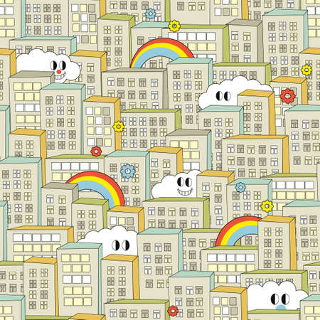 Rainbow in the city seamless pattern. Vector illustration. Vector