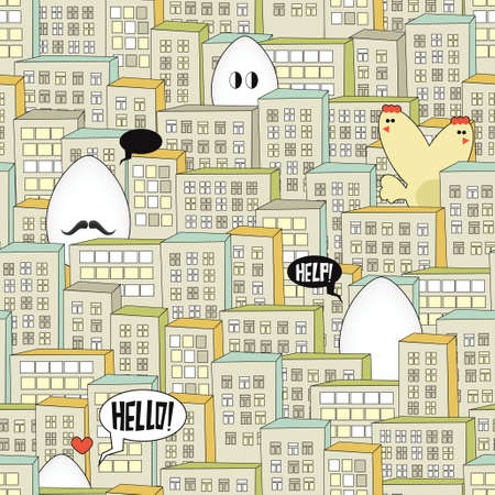 City seamless pattern with eggs monsters for the Easter time. Vector illustration. Vector
