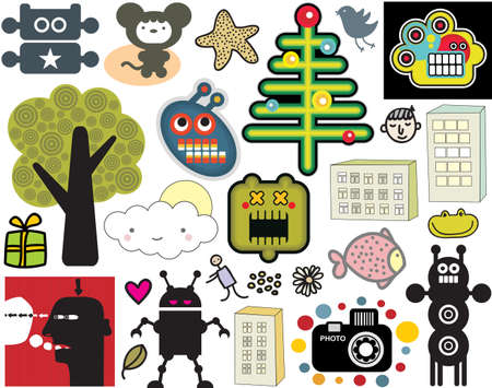 manga style: Mix of different vector images and icons. vol.35
