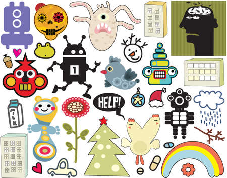 monsters house: Mix of different vector images and icons. vol.36