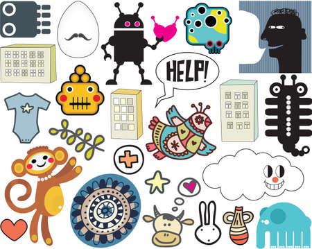 funny robot: Mix of different vector images and icons. vol.37