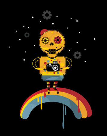 end of the world: Skeleton on the rainbow. Vector illustration in positive style.