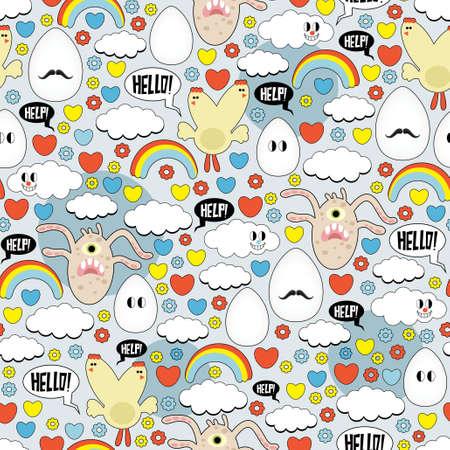 Crazy naadloze patroon met eieren en monsters. Vector Illustratie