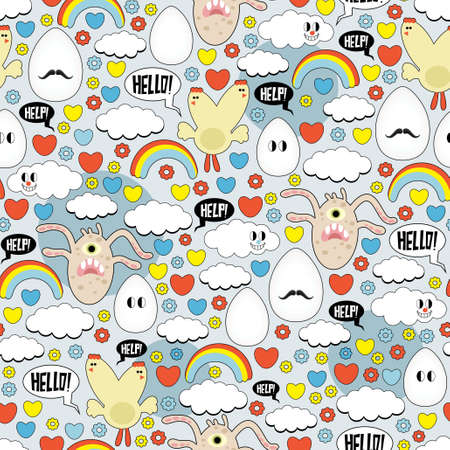 Crazy seamless pattern with eggs and monsters.  Vector
