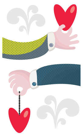 hang body: Arms and hearts. Cute vector illustration for the Valentine`s day.