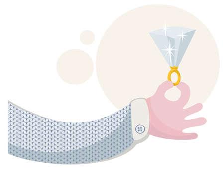 Ring with brilliant. Vector romantic illustration.