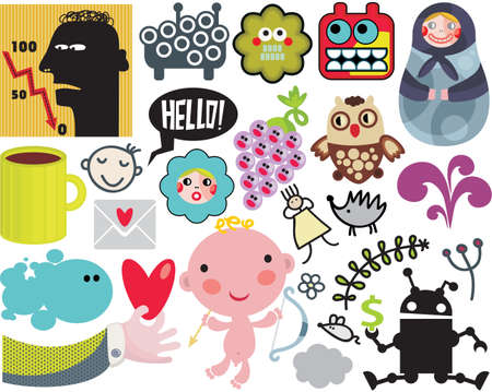 Mix of different images and icons. vol.38 Vector