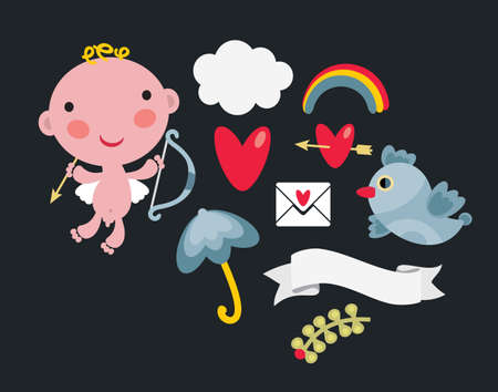 Cute set of images for the Valentine`s Day. Vector