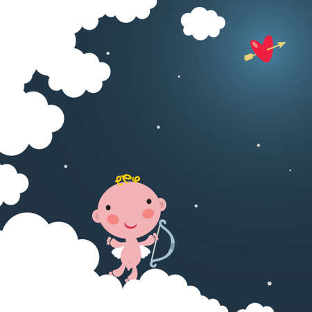 Cute cupid on the cloud.  Vector
