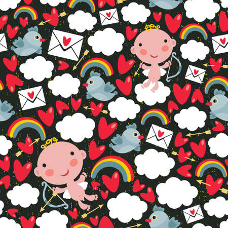 Cupid with hearts and birds seamless pattern. Vector
