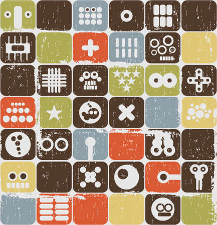 Robot and monsters on buttons seamless pattern.  Vector