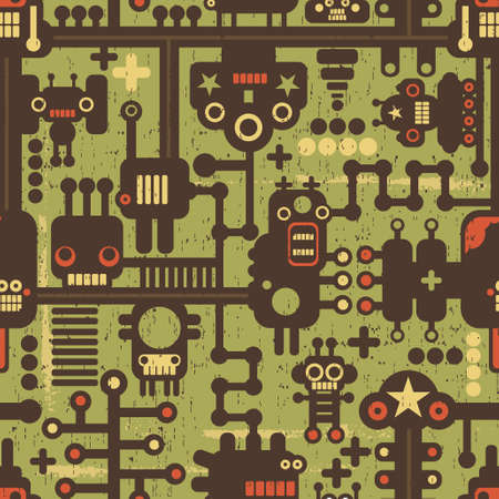 Robot and monsters seamless pattern on green.  Vector