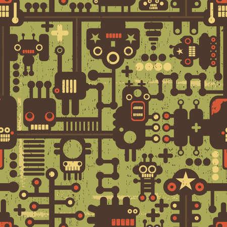 robot caricatura: Robots y monstruos sin fisuras patr�n de color verde.