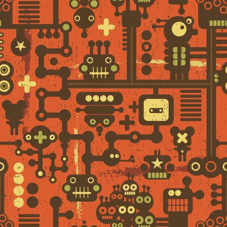 빨간색 로봇과 괴물 원활한 패턴입니다. 일러스트