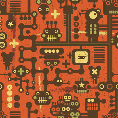 Robot and monsters seamless pattern on red. Vector