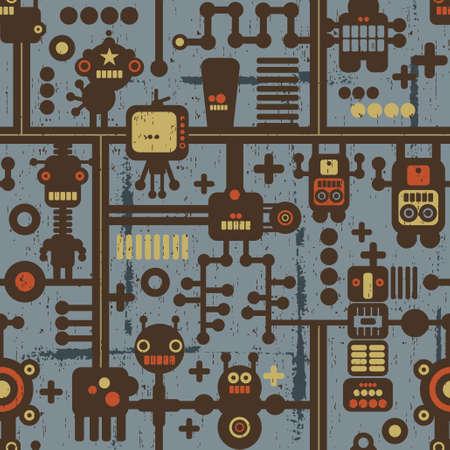 pattern monster: Robot e mostri pattern seamless su sfondo blu.