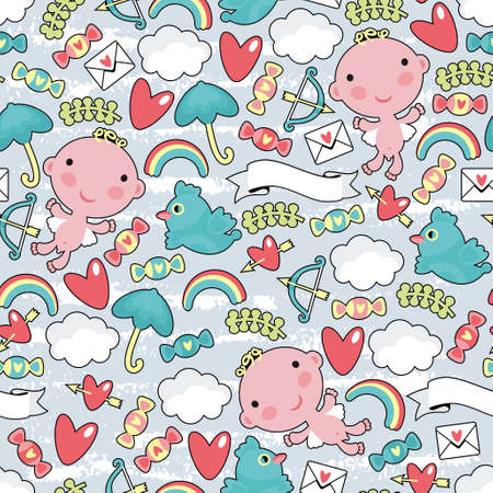 Cupid with clouds seamless pattern. texture for the Valentine`s day. Vector