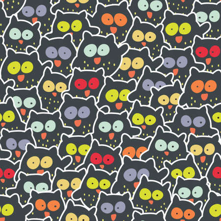 Crowd of owls. Cute and crazy seamless pattern.