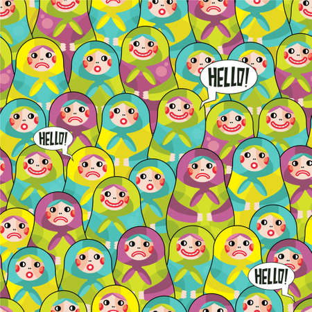Matreshka disorder seamless pattern. Vector