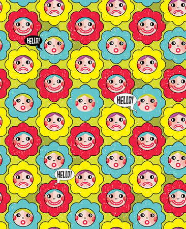 Crazy flowers with faces seamless background.  Vector
