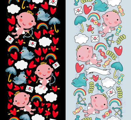 Two cute seamless pattern with cupid and flora. Vector