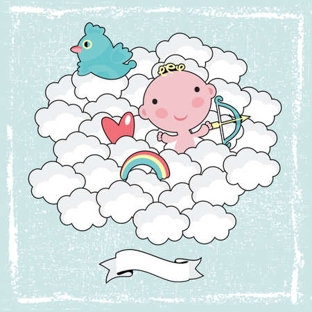 Cute cupid in the blue sky.  Vector