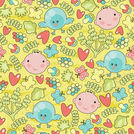 manga girl: Baby and birds seamless background. Illustration