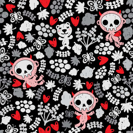 Crazy babies seamless pattern.  Vector
