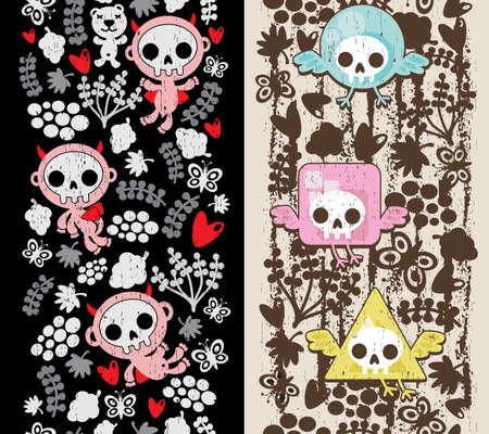 skull and flowers: Two vertical crazy textures with birds and babies.