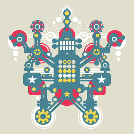 Big colorful robot #2.  Vector