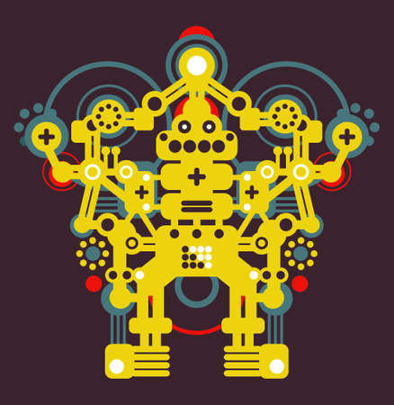 Big colorful robot #1.  Vector