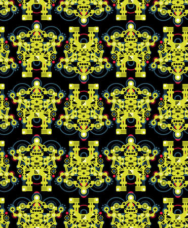 Big robots seamless pattern in green.  Vector