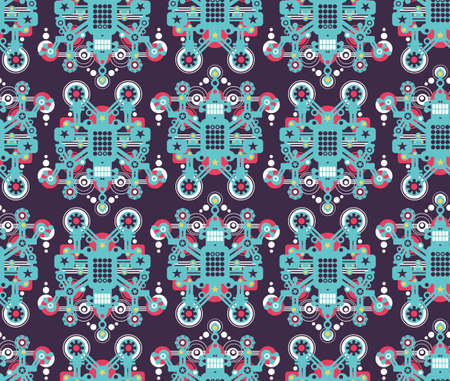 Big robots seamless pattern in blue.  Vector