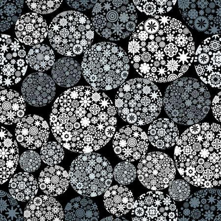happiness: Resumen patrón transparente con bolas de nieve. Vectores