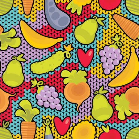 Seamless pattern with fruits and vegetables and hearts.  Vector
