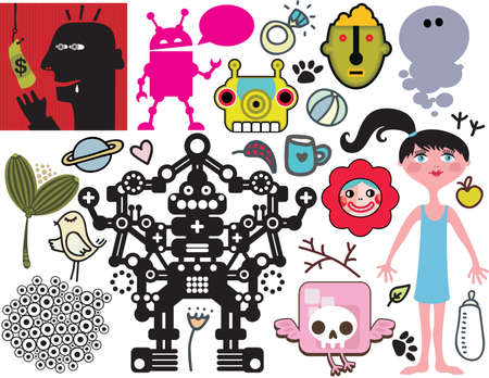 animal skull: Mix of different vector images and icons. vol.40 Illustration