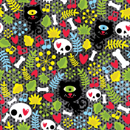 zombie cartoon: Cute monsters cats and skulls in love.