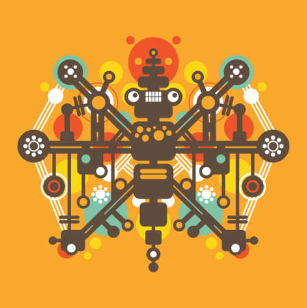 Big colorful robot #3.  Vector