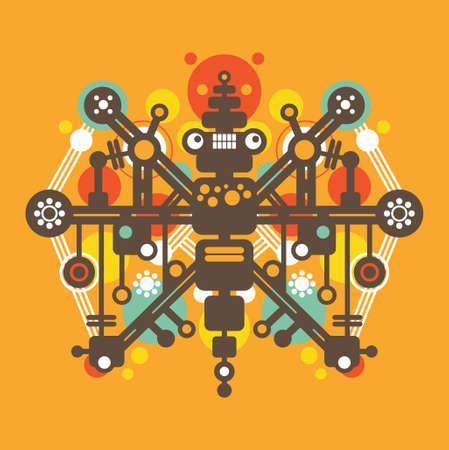 Big colorful robot #3.  Vector