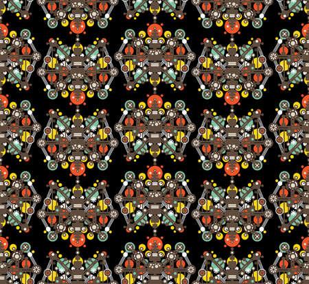 Big robots seamless pattern in black. Vector