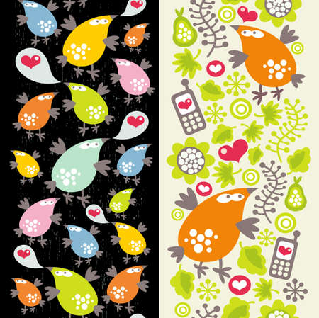 Two vertical seamless patterns with birds and mobile phones. Stock Vector - 12440042