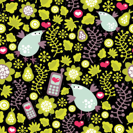 Seamless pattern with birds and mobile phones on black background.  Stock Vector - 12440043