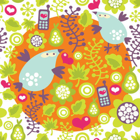 Seamless pattern with birds and mobile phones. Stock Vector - 12440039