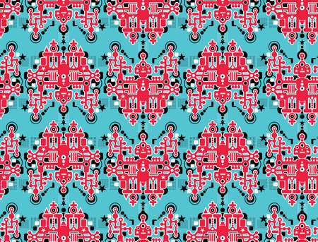 Big robots seamless pattern in red.  Vector
