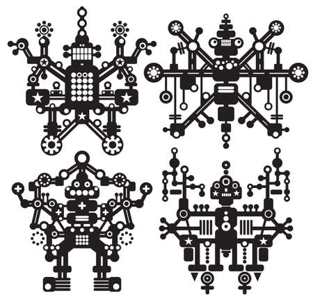 Four black and white robots. Vector illustration. Vector
