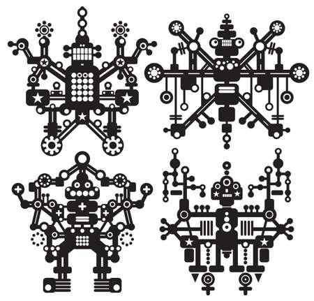 bras robot: Quatre robots en noir et blanc. Vector illustration.
