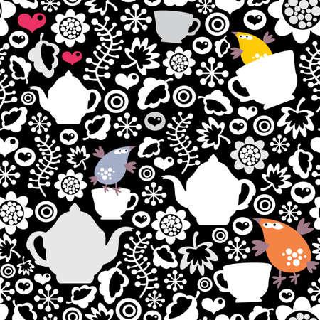 tarde de cafe: Las aves y el patrón de copas sin costuras. Vectores