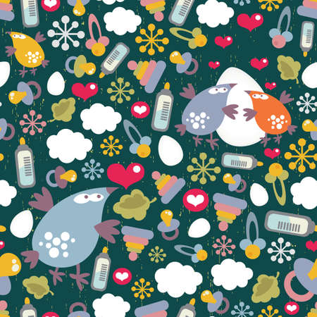 Seamless pattern with birds family.  Vector