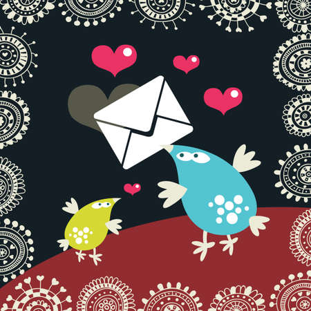 Cute birds with the envelopes.  Vector